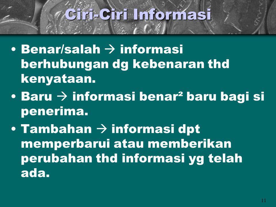 Ciri-Ciri Informasi Benar/salah  informasi berhubungan dg kebenaran thd kenyataan. Baru  informasi benar² baru bagi si penerima.