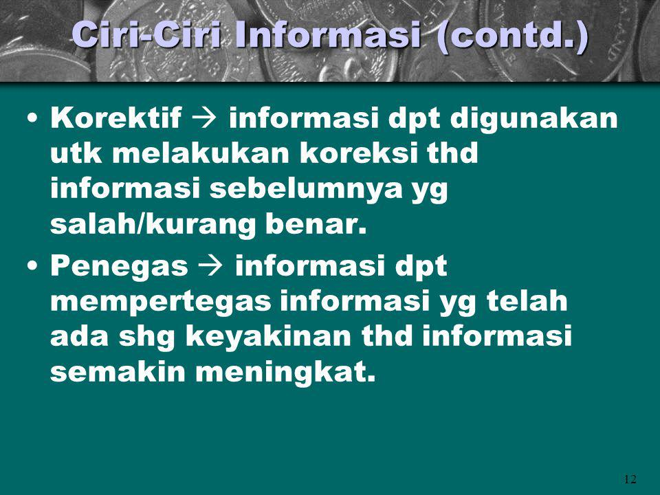 Ciri-Ciri Informasi (contd.)
