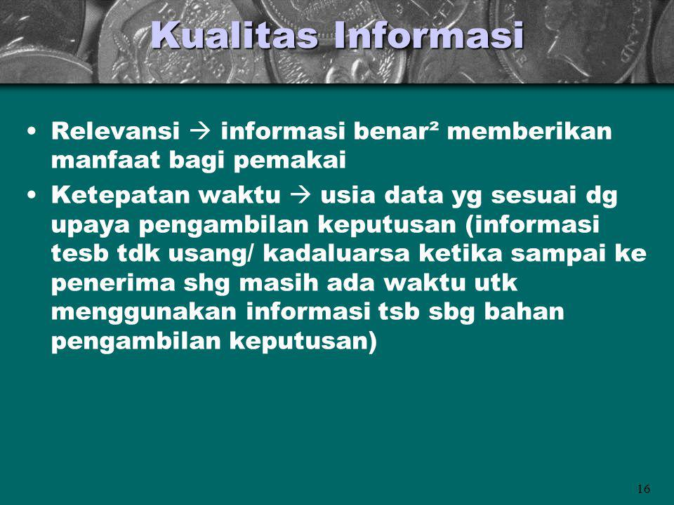 Kualitas Informasi Relevansi  informasi benar² memberikan manfaat bagi pemakai.