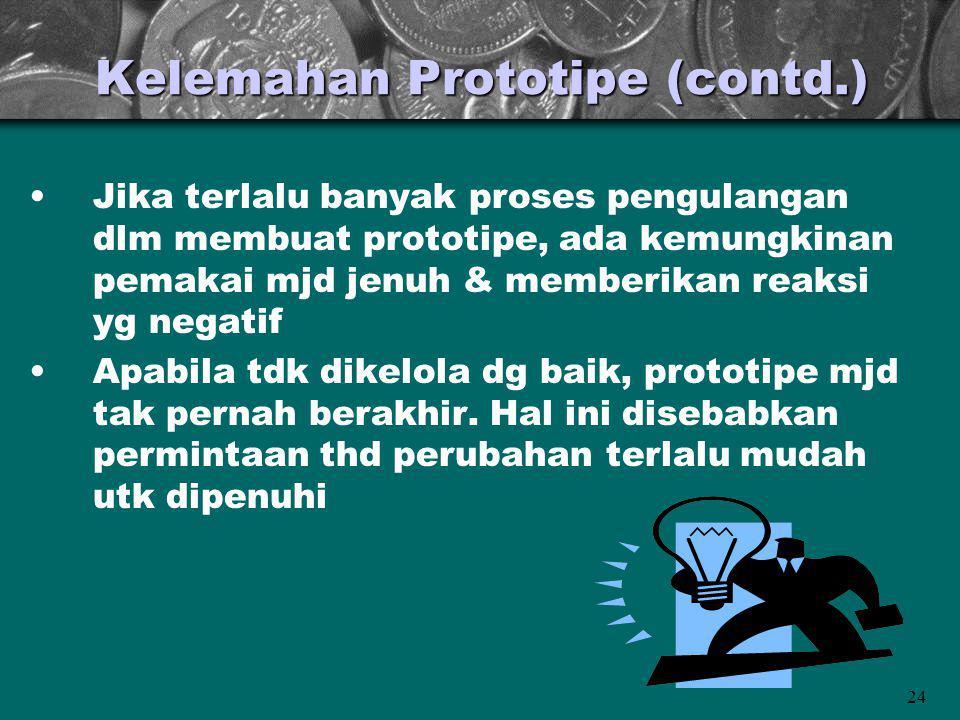Kelemahan Prototipe (contd.)