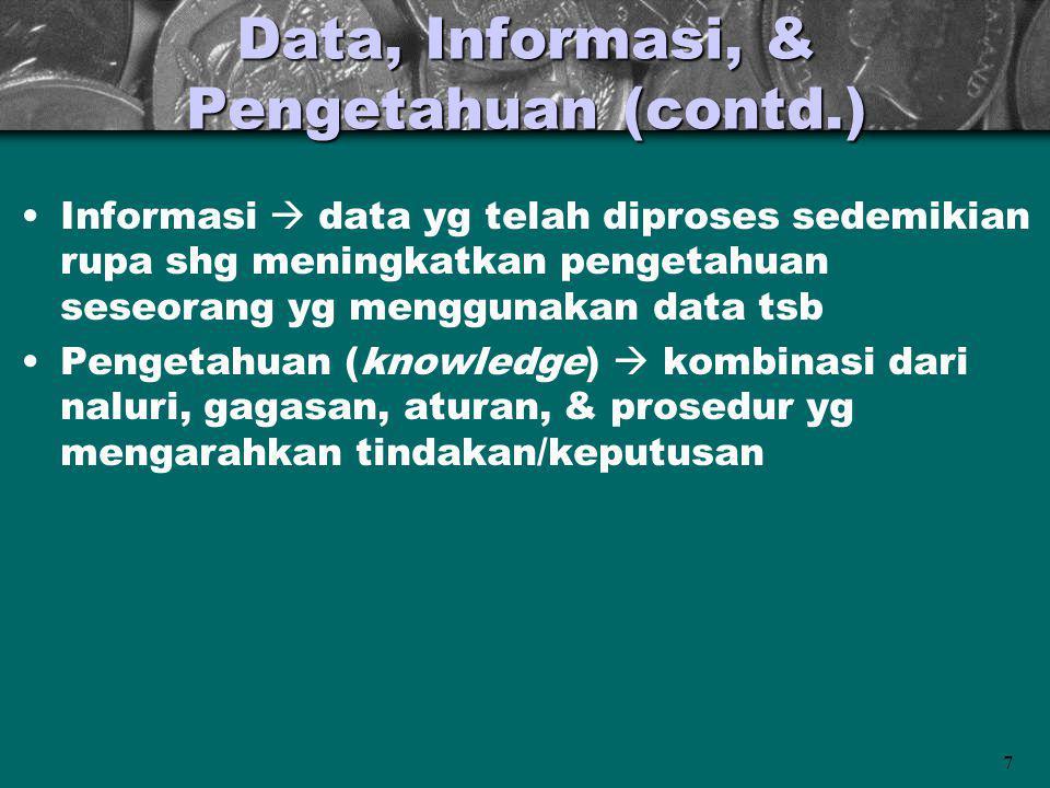 Data, Informasi, & Pengetahuan (contd.)
