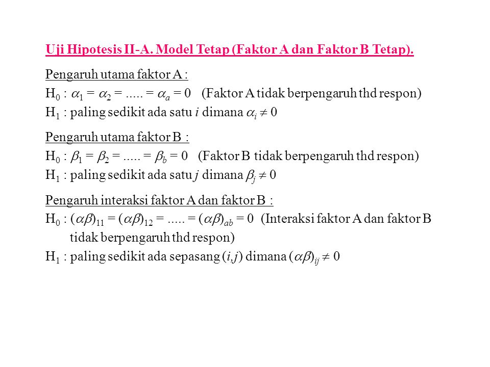 Uji Hipotesis II-A. Model Tetap (Faktor A dan Faktor B Tetap).