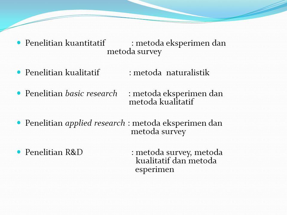 Penelitian kuantitatif : metoda eksperimen dan metoda survey