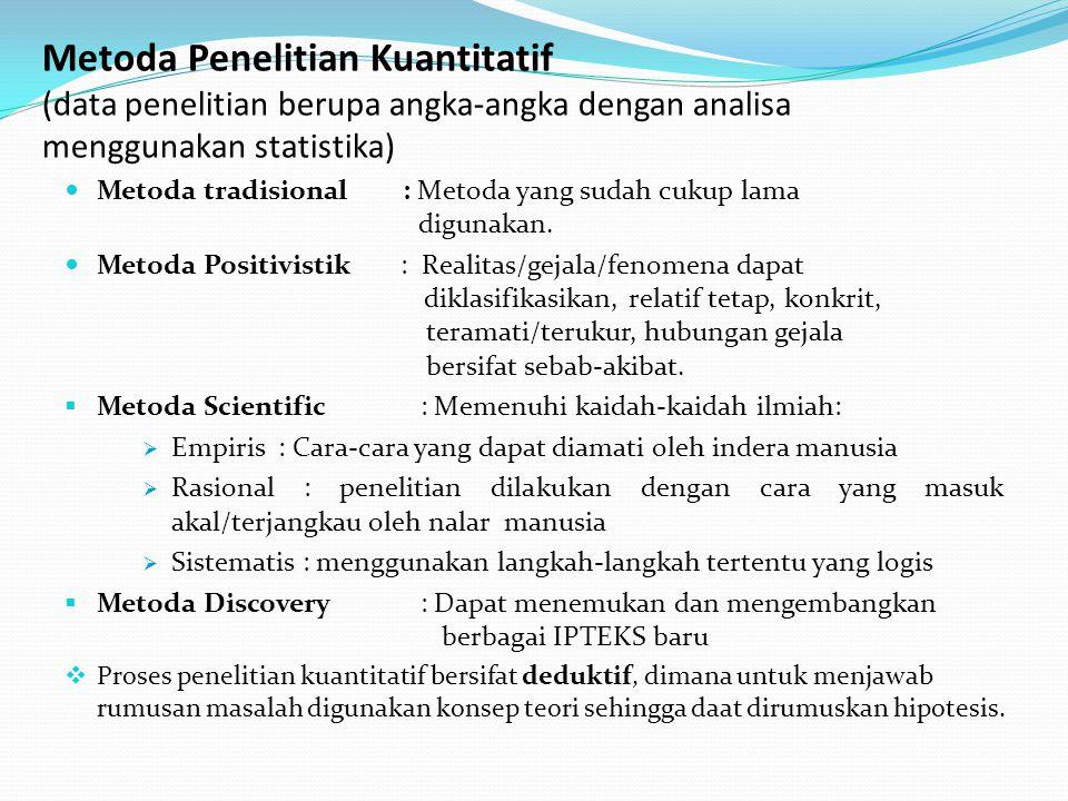Metoda Penelitian Kuantitatif (data penelitian berupa angka-angka dengan analisa menggunakan statistika)