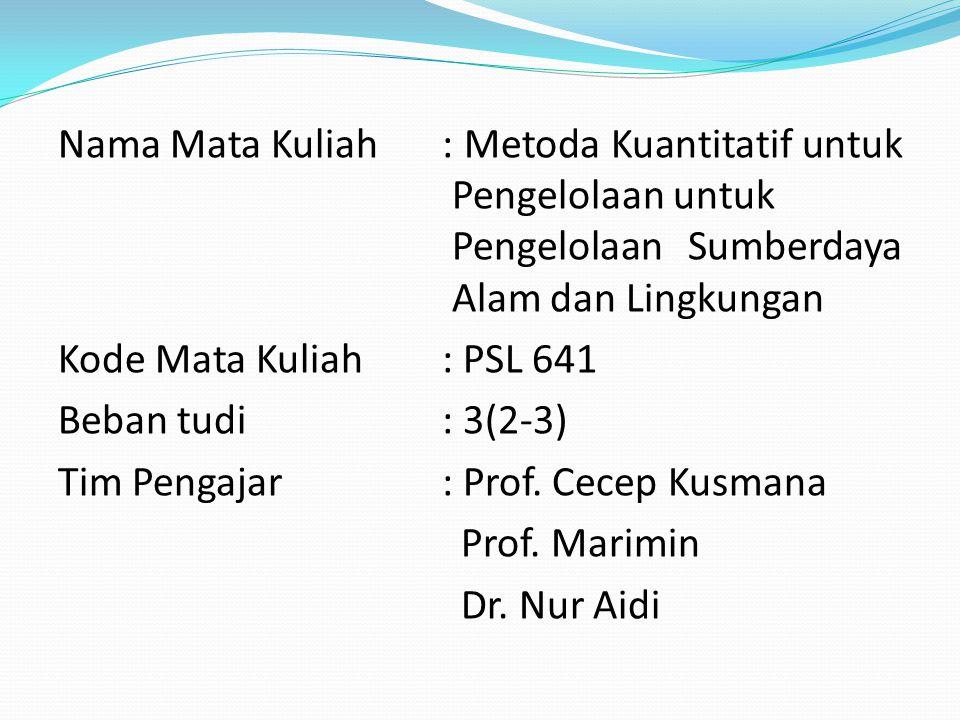 Nama Mata Kuliah : Metoda Kuantitatif untuk Pengelolaan untuk Pengelolaan Sumberdaya Alam dan Lingkungan Kode Mata Kuliah : PSL 641 Beban tudi : 3(2-3) Tim Pengajar : Prof.
