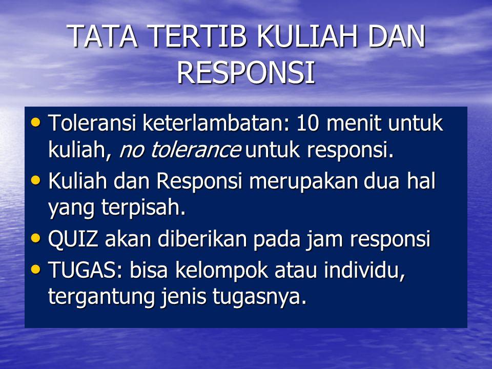 TATA TERTIB KULIAH DAN RESPONSI