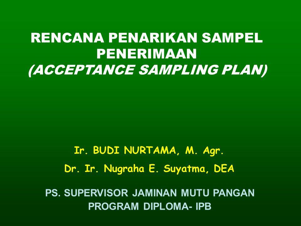 RENCANA PENARIKAN SAMPEL PENERIMAAN (ACCEPTANCE SAMPLING PLAN)