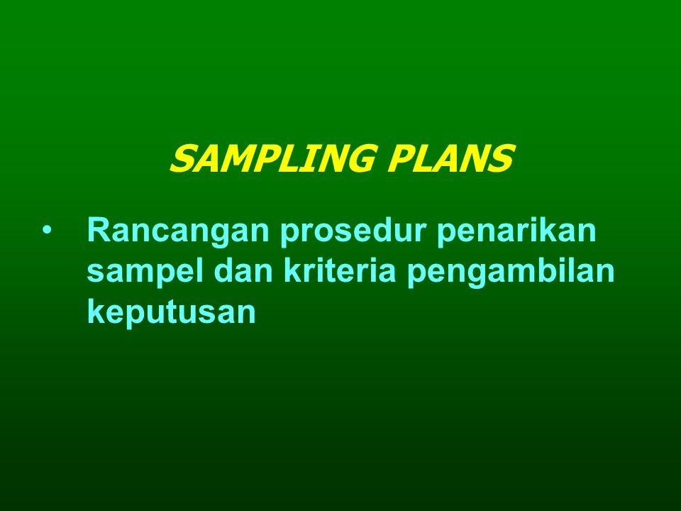 SAMPLING PLANS Rancangan prosedur penarikan sampel dan kriteria pengambilan keputusan