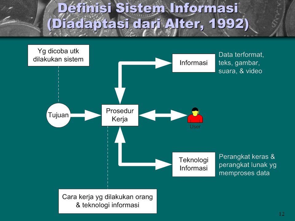 Definisi Sistem Informasi (Diadaptasi dari Alter, 1992)