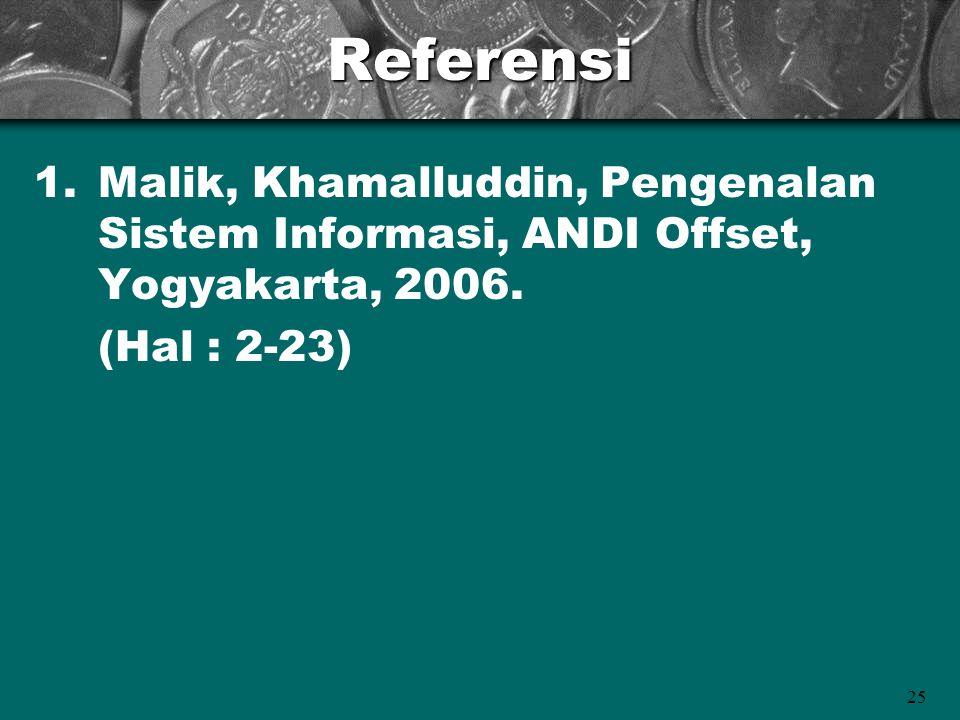 Referensi Malik, Khamalluddin, Pengenalan Sistem Informasi, ANDI Offset, Yogyakarta, 2006.