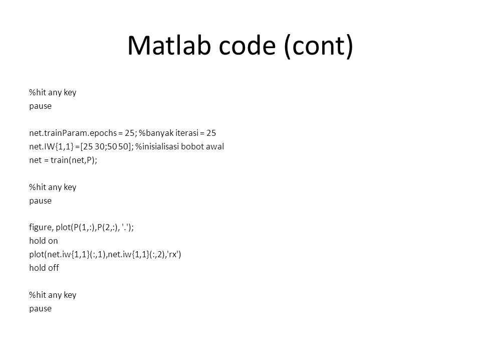 Matlab code (cont)