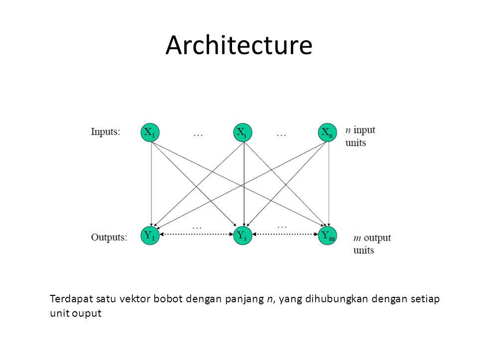 Architecture Terdapat satu vektor bobot dengan panjang n, yang dihubungkan dengan setiap unit ouput