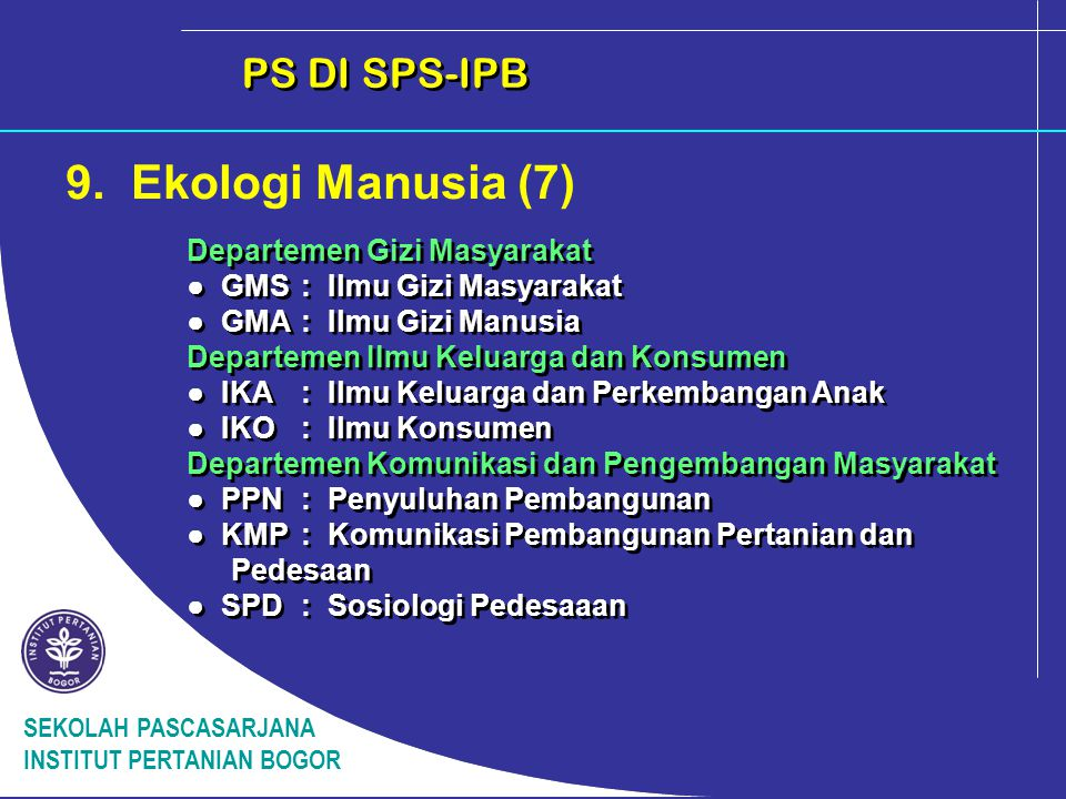 9. Ekologi Manusia (7) PS DI SPS-IPB Departemen Gizi Masyarakat