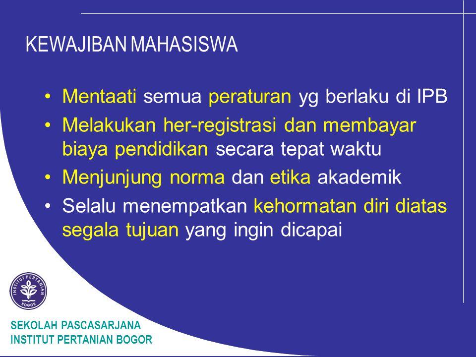 KEWAJIBAN MAHASISWA Mentaati semua peraturan yg berlaku di IPB