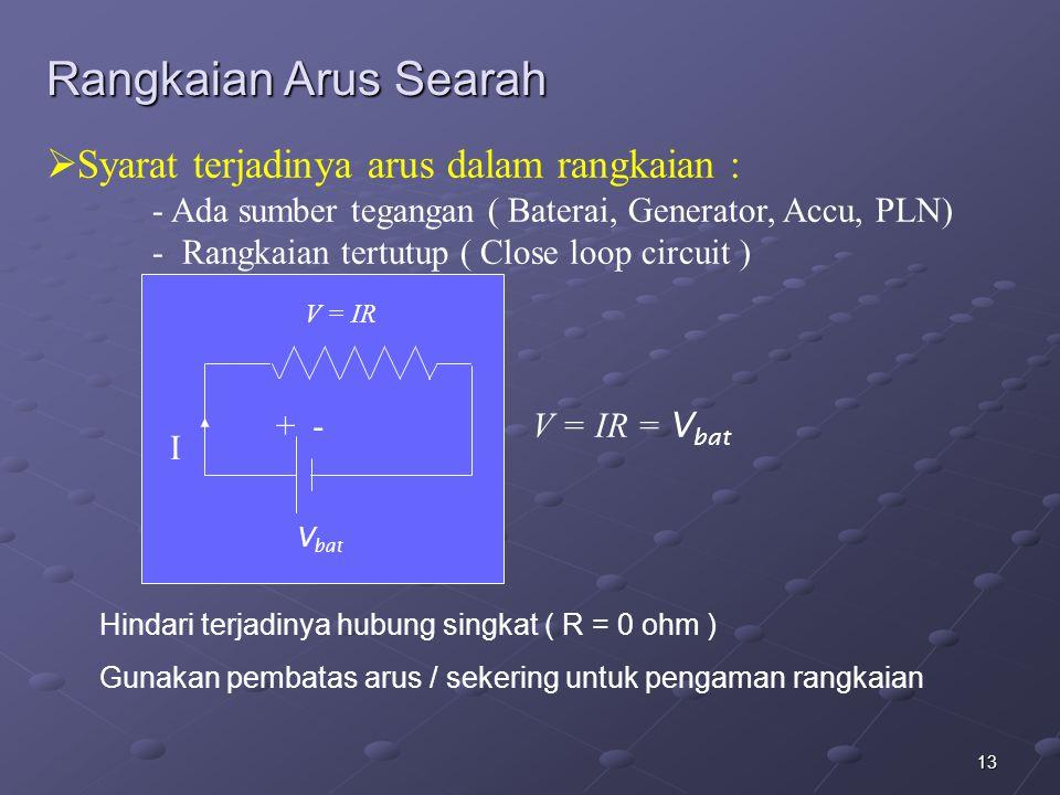 Rangkaian Arus Searah Syarat terjadinya arus dalam rangkaian :