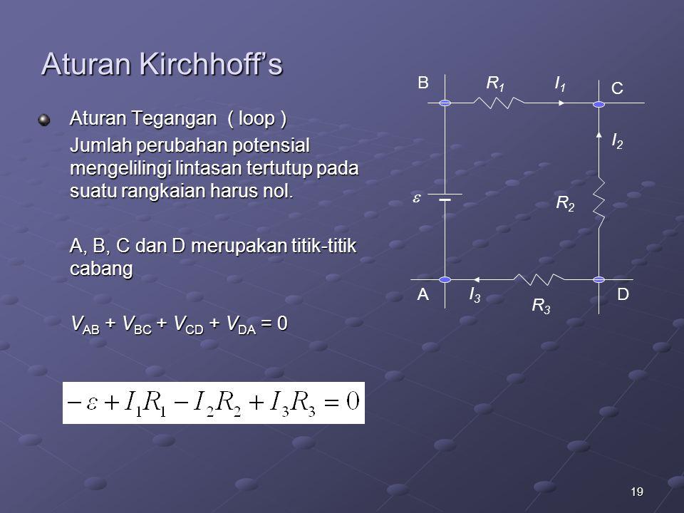 Aturan Kirchhoff's Aturan Tegangan ( loop )