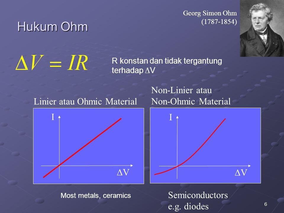 Hukum Ohm Non-Linier atau Non-Ohmic Material