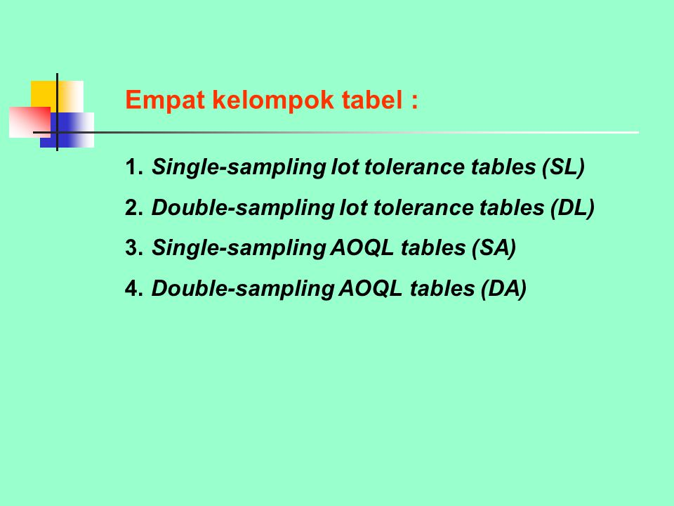 Empat kelompok tabel : 1. Single-sampling lot tolerance tables (SL)