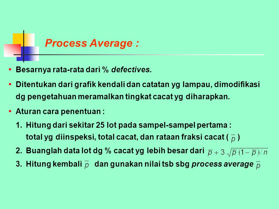 Process Average : Besarnya rata-rata dari % defectives.