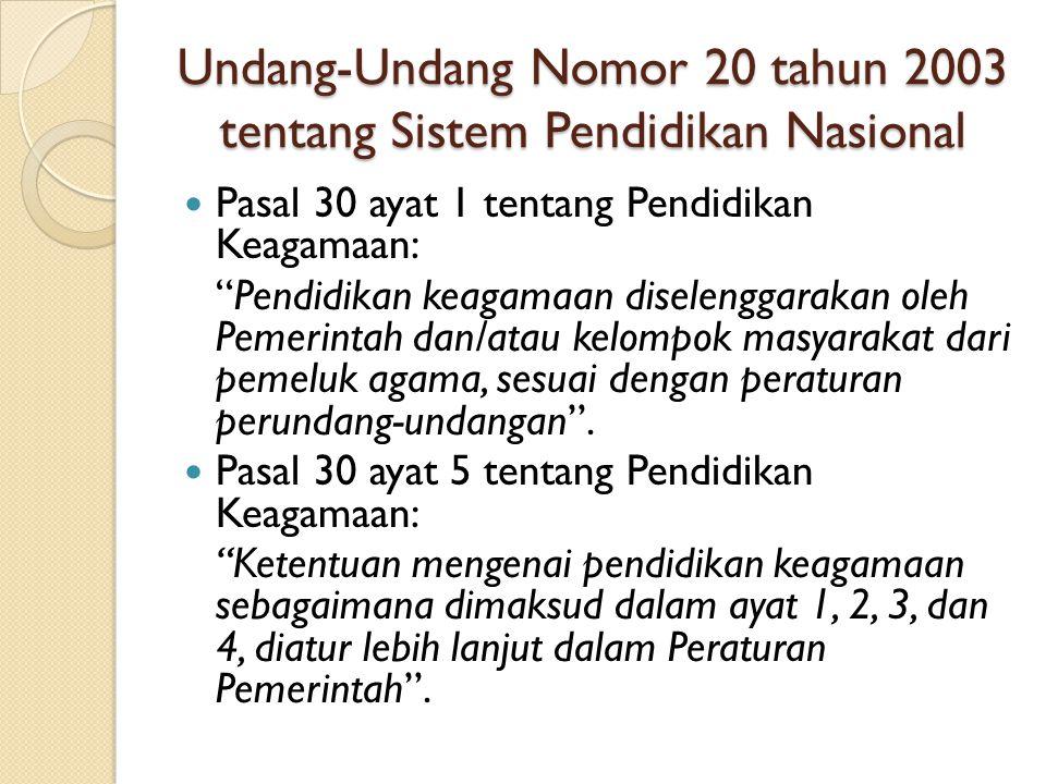 Undang-Undang Nomor 20 tahun 2003 tentang Sistem Pendidikan Nasional