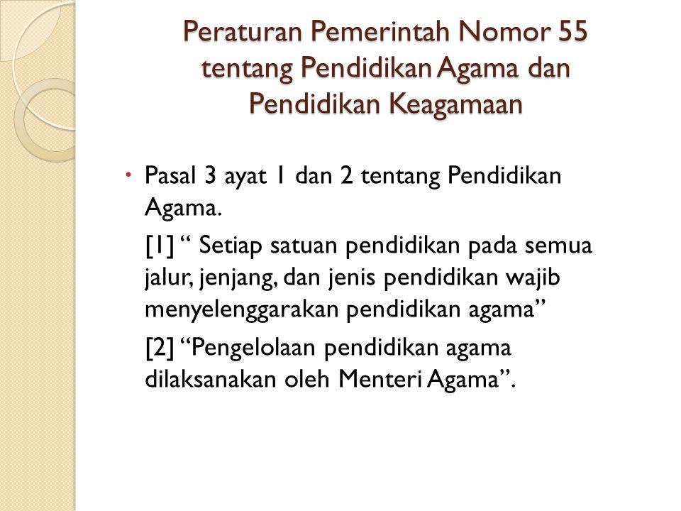 Peraturan Pemerintah Nomor 55 tentang Pendidikan Agama dan Pendidikan Keagamaan