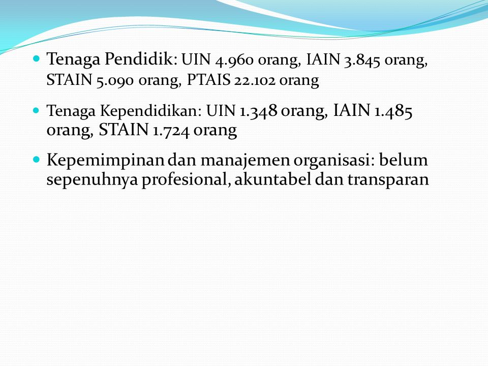 Tenaga Pendidik: UIN 4. 960 orang, IAIN 3. 845 orang, STAIN 5