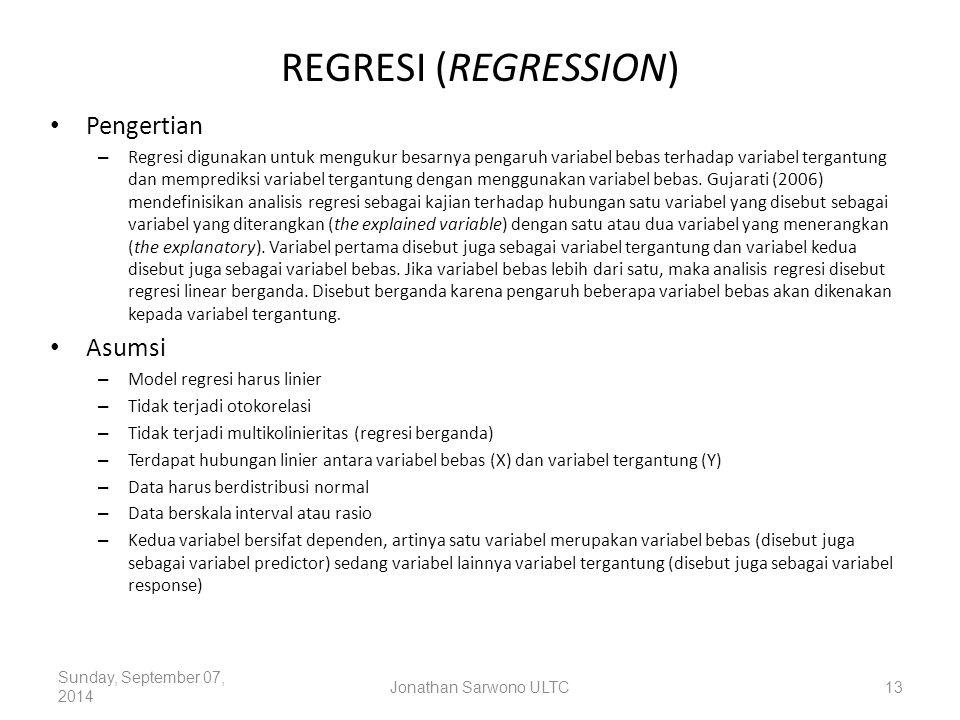 REGRESI (REGRESSION) Pengertian Asumsi