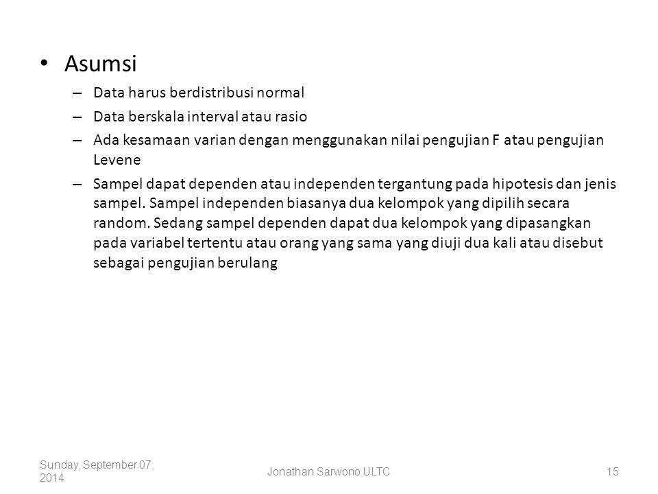 Asumsi Data harus berdistribusi normal