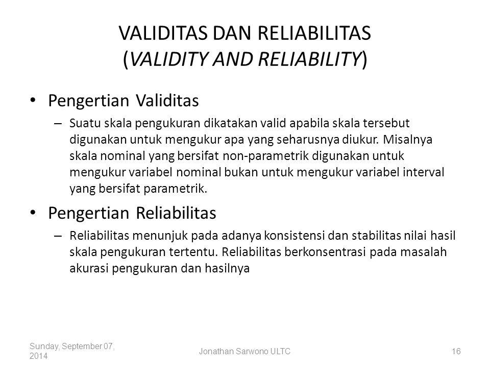 VALIDITAS DAN RELIABILITAS (VALIDITY AND RELIABILITY)