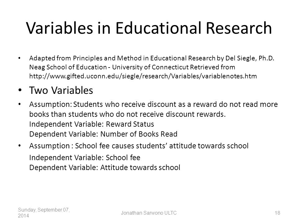 Variables in Educational Research