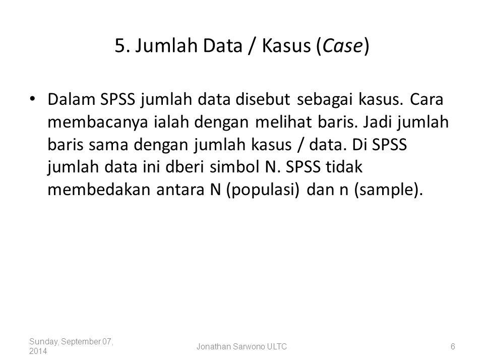 5. Jumlah Data / Kasus (Case)