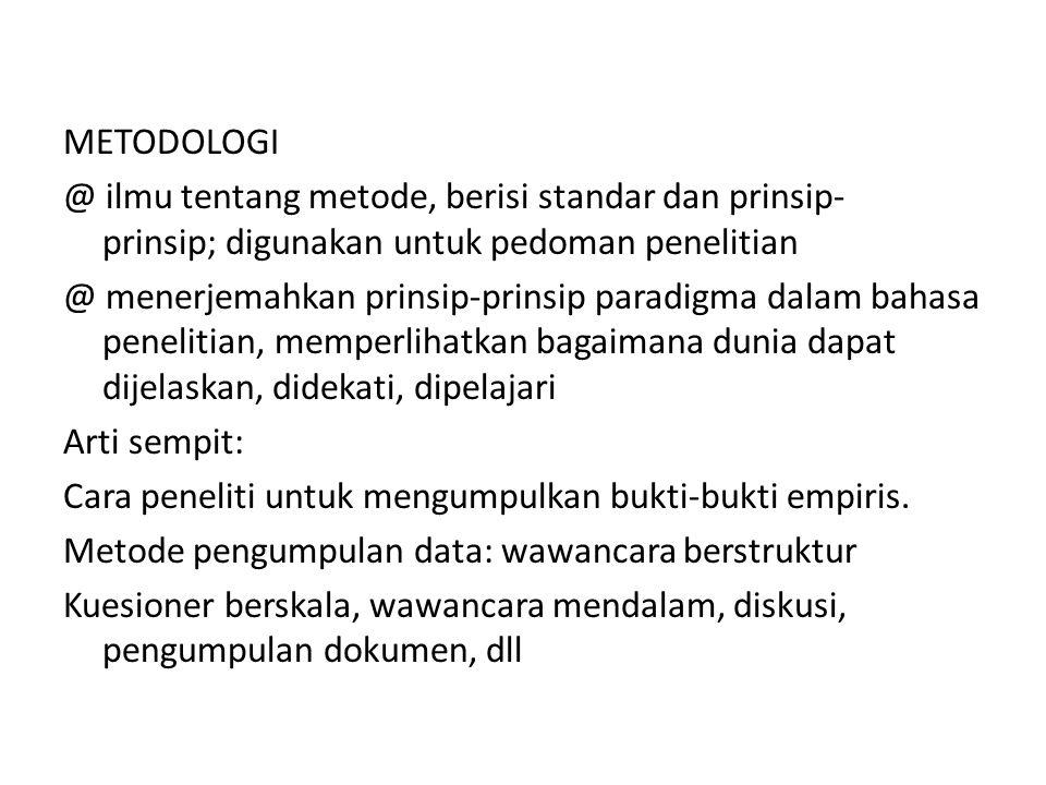 METODOLOGI @ ilmu tentang metode, berisi standar dan prinsip- prinsip; digunakan untuk pedoman penelitian.