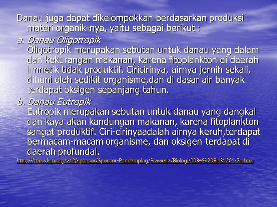 Danau juga dapat dikelompokkan berdasarkan produksi materi organik-nya, yaitu sebagai berikut :