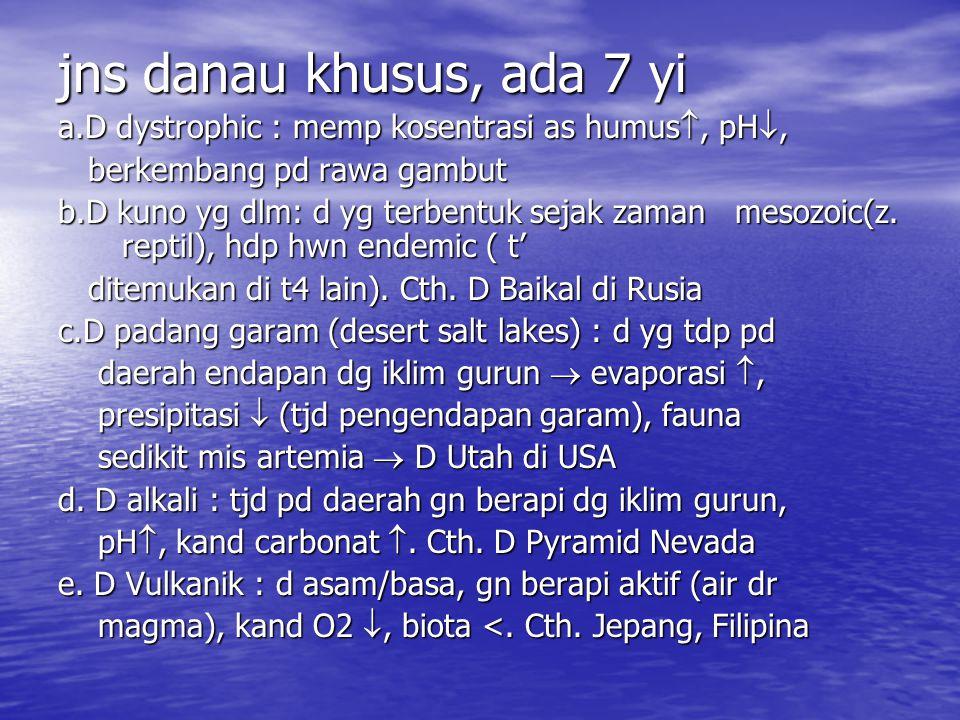 jns danau khusus, ada 7 yi a.D dystrophic : memp kosentrasi as humus, pH, berkembang pd rawa gambut.
