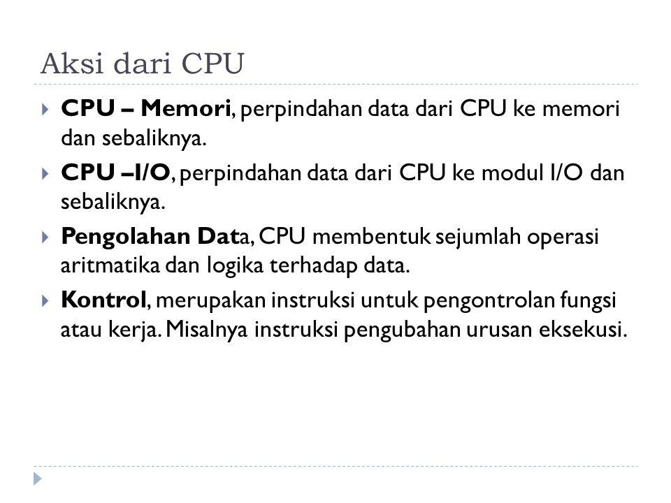 Aksi dari CPU CPU – Memori, perpindahan data dari CPU ke memori dan sebaliknya. CPU –I/O, perpindahan data dari CPU ke modul I/O dan sebaliknya.