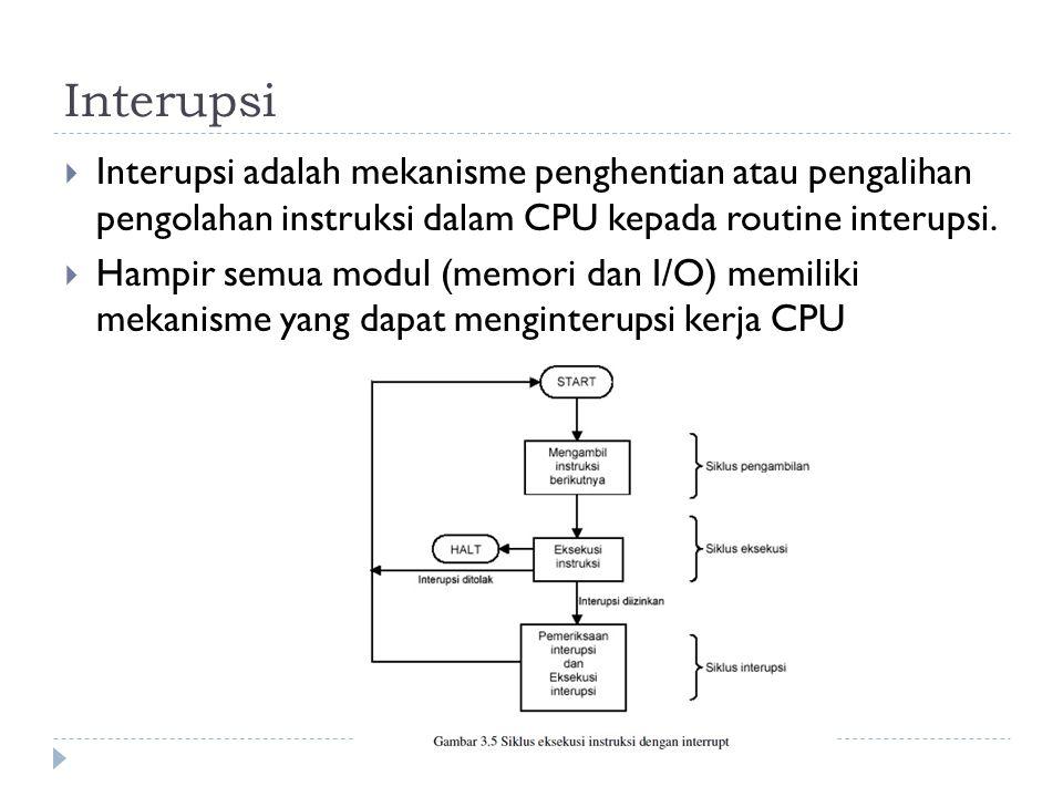 Interupsi Interupsi adalah mekanisme penghentian atau pengalihan pengolahan instruksi dalam CPU kepada routine interupsi.