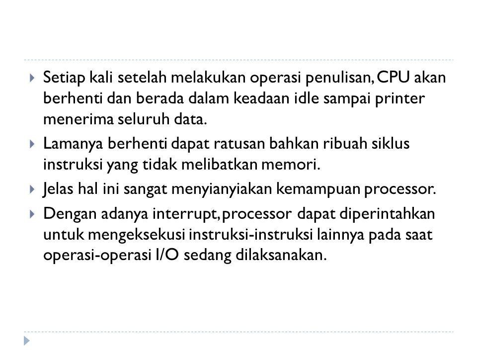 Setiap kali setelah melakukan operasi penulisan, CPU akan berhenti dan berada dalam keadaan idle sampai printer menerima seluruh data.