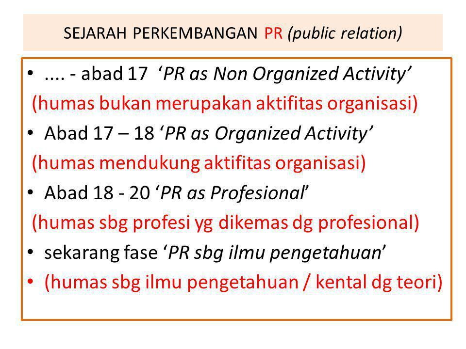 SEJARAH PERKEMBANGAN PR (public relation)