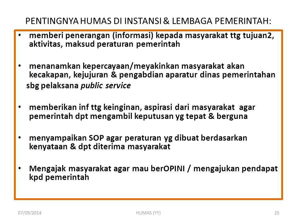 PENTINGNYA HUMAS DI INSTANSI & LEMBAGA PEMERINTAH: