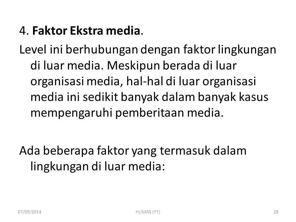 4. Faktor Ekstra media. Level ini berhubungan dengan faktor lingkungan di luar media. Meskipun berada di luar organisasi media, hal-hal di luar organisasi media ini sedikit banyak dalam banyak kasus mempengaruhi pemberitaan media. Ada beberapa faktor yang termasuk dalam lingkungan di luar media: