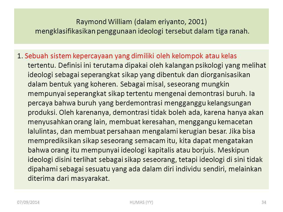 Raymond William (dalam eriyanto, 2001) mengklasifikasikan penggunaan ideologi tersebut dalam tiga ranah.