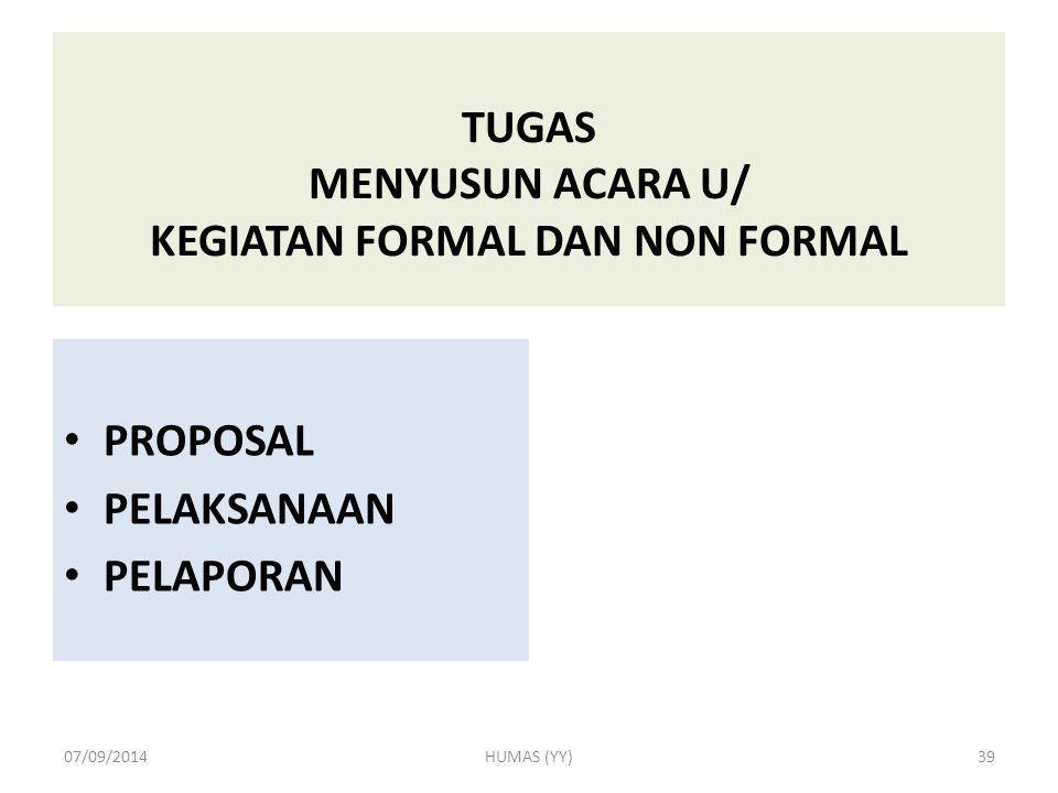 TUGAS MENYUSUN ACARA U/ KEGIATAN FORMAL DAN NON FORMAL