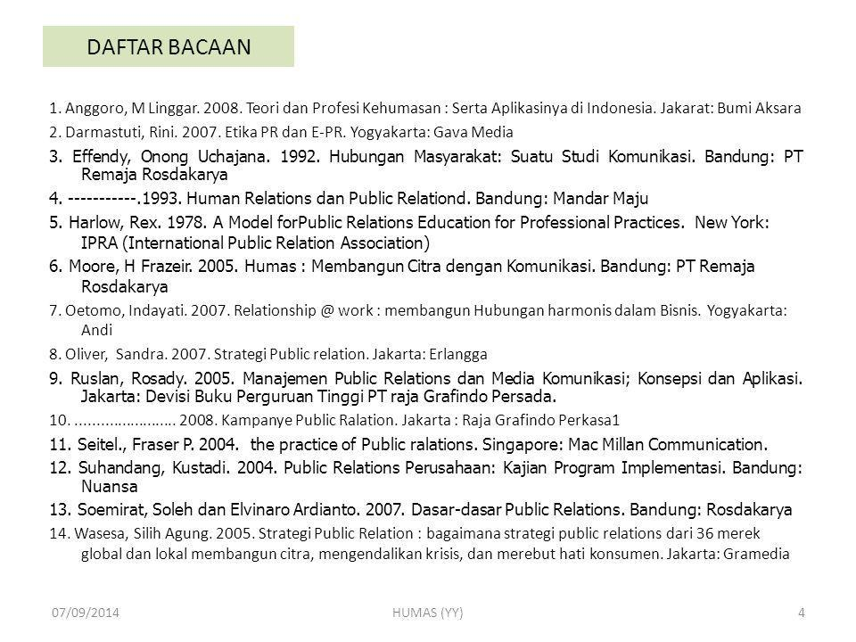 DAFTAR BACAAN 1. Anggoro, M Linggar. 2008. Teori dan Profesi Kehumasan : Serta Aplikasinya di Indonesia. Jakarat: Bumi Aksara.