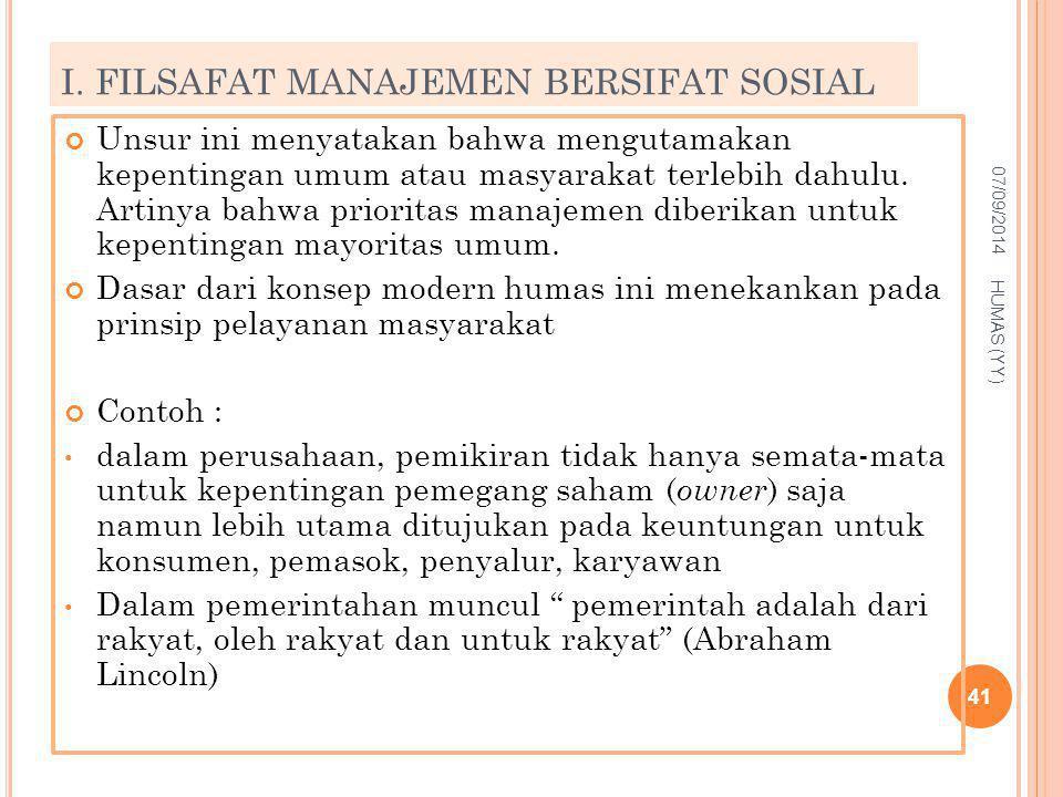 I. FILSAFAT MANAJEMEN BERSIFAT SOSIAL