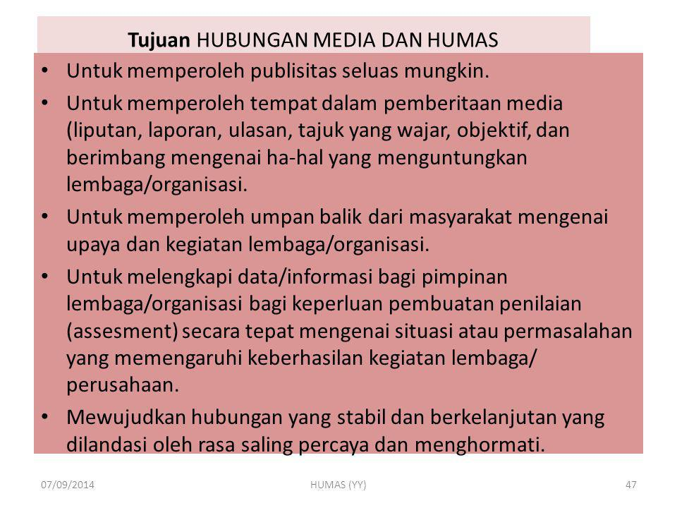 Tujuan HUBUNGAN MEDIA DAN HUMAS