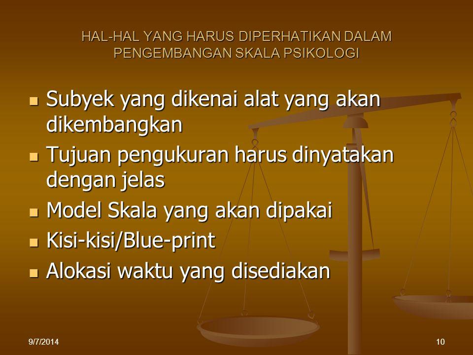 HAL-HAL YANG HARUS DIPERHATIKAN DALAM PENGEMBANGAN SKALA PSIKOLOGI