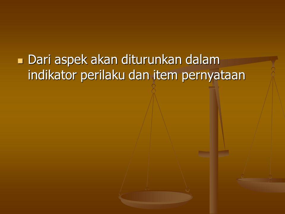 Dari aspek akan diturunkan dalam indikator perilaku dan item pernyataan