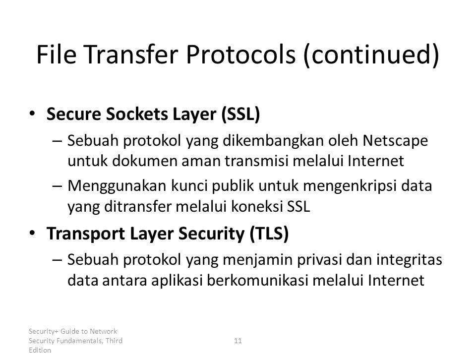 File Transfer Protocols (continued)