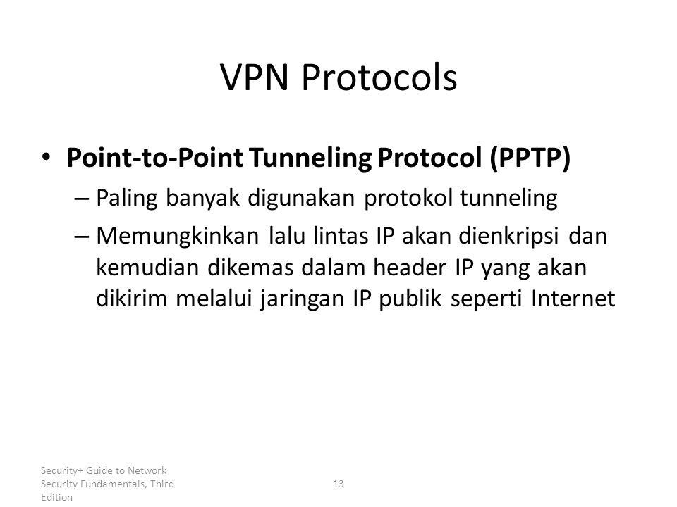 VPN Protocols Point-to-Point Tunneling Protocol (PPTP)