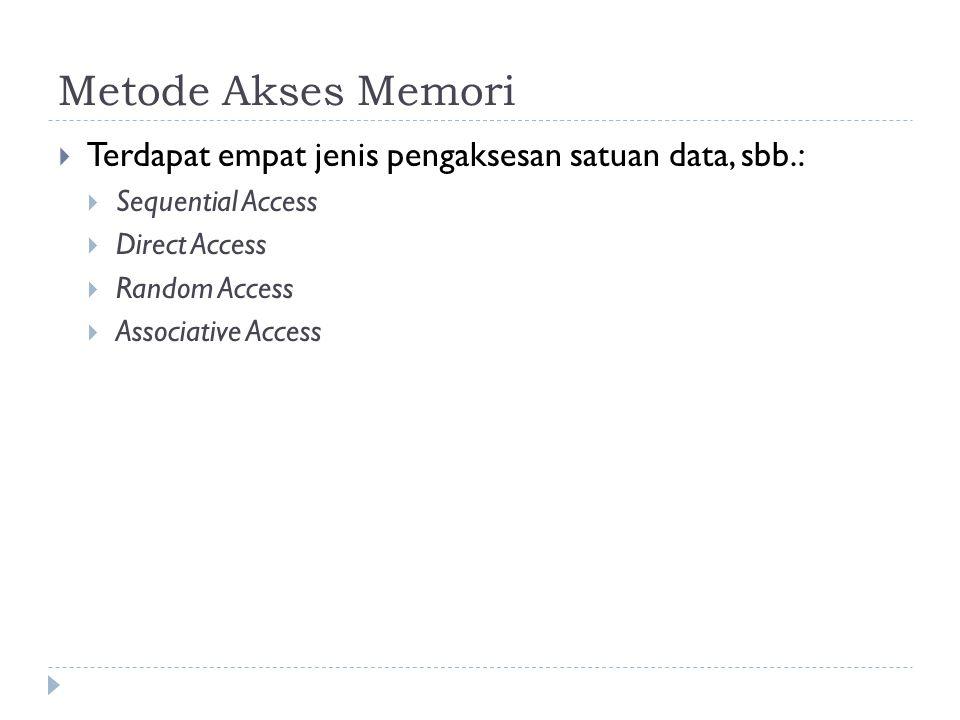 Metode Akses Memori Terdapat empat jenis pengaksesan satuan data, sbb.: Sequential Access. Direct Access.